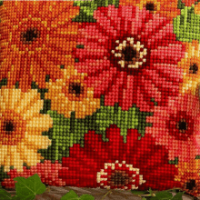 Lovely Floral Bright Cotton DIY Cross Stitch Pillowcase