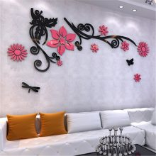 Romantic Flower Shaped Acrylic Wall Stickers